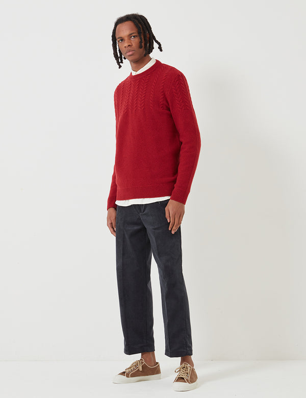 Barbour Crastill Cable Knit Sweatshirt - reiches Rot