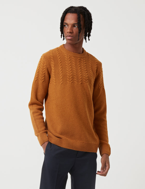 Sweat Barbour Crastill Cable Knit - Moutarde