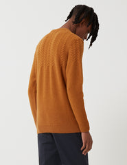 Barbour Crastill Cable Knit Sweatshirt - Mustard