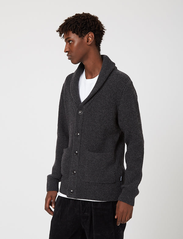 Barbour Findlay Button Through Shawl Sweater - Charcoal