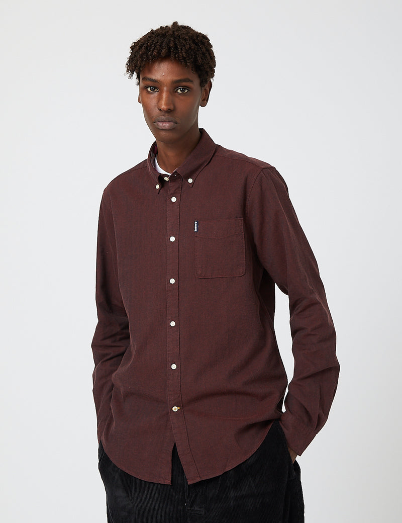 Barbour Herringbone Shirt (Melange Cotton) - Merlot