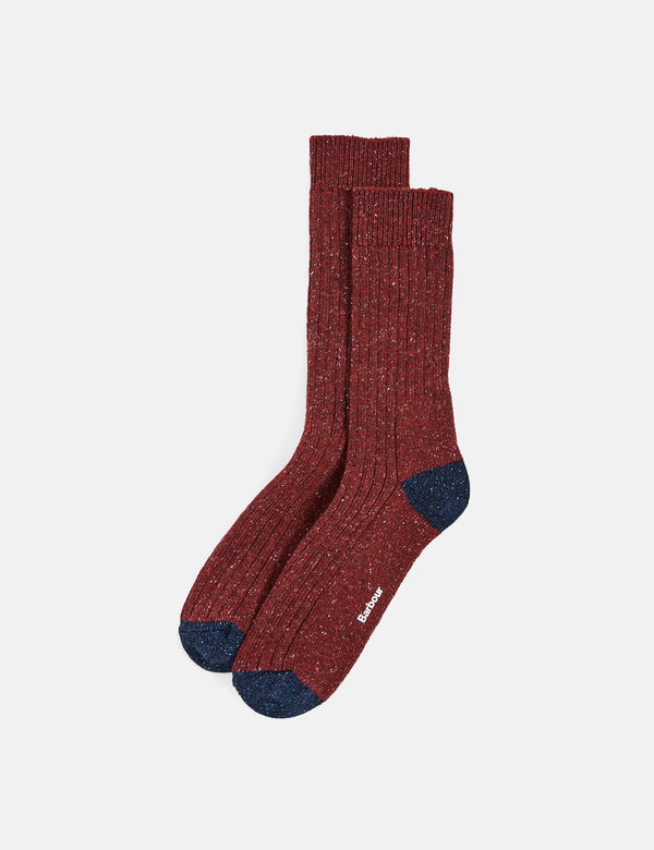 Barbour Houghton Sock - Red/Navy Blue