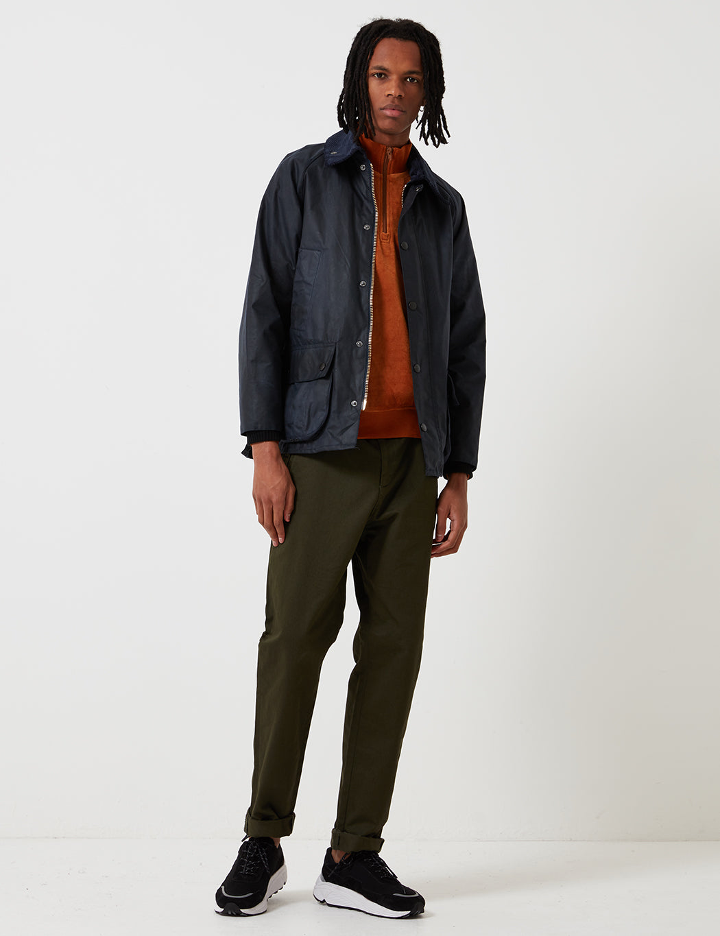 Barbour Waxed Bedale Jacket - Navy Blue