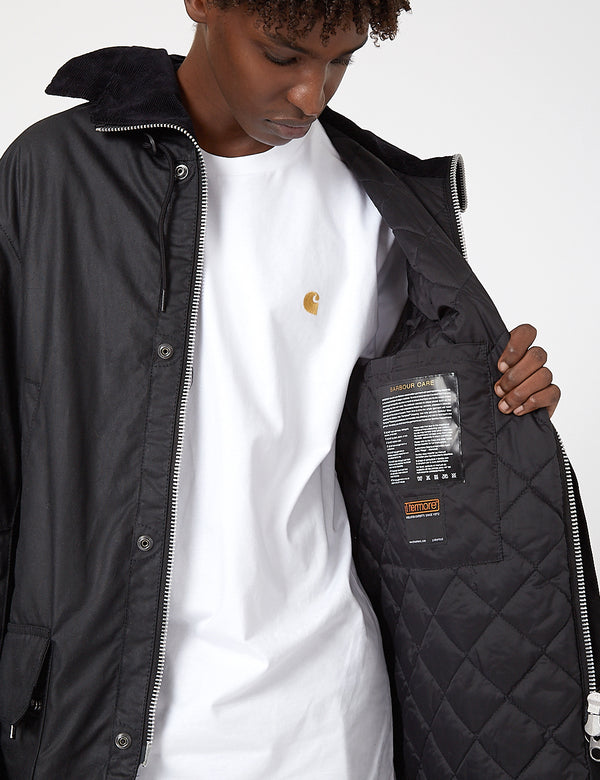 Barbour Gold Standard Supa-Border Waxed Cotton Jacket - Black