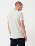 Norse Projects Niels Textured Stripe T-Shirt - Ecru