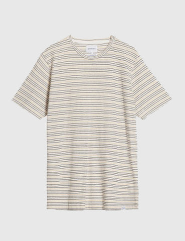 Norse Projects James Fine Stripe T-Shirt - Dried Olive