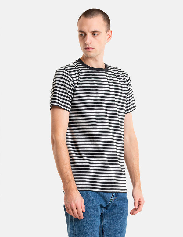 Norse Projects Niels Classic Stripe T-Shirt - Light Grey Melange/Charcoal