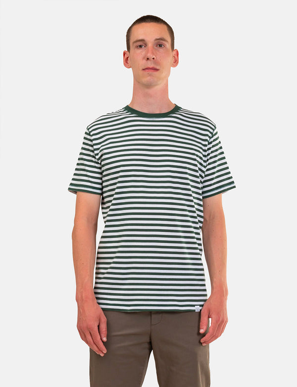 Norse Projects Niels Classic Stripe T-Shirt - Dartmouth Green