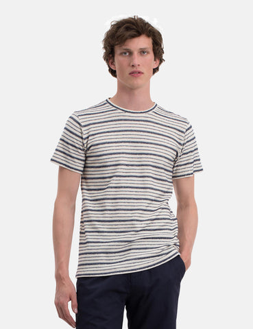 Norse Projects Niels Texture Stripe T-Shirt - Dark Navy