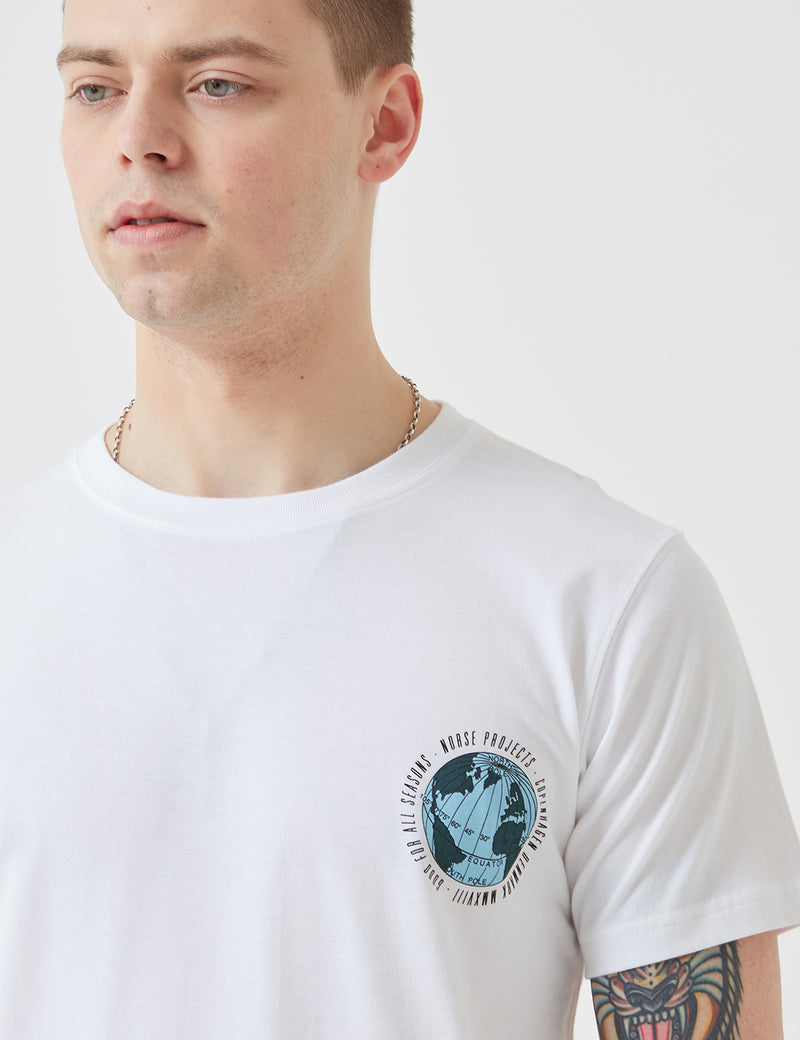 Norse Projects Niels Globe Logo T-Shirt - White