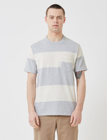 Norse Projects Johannes Block Stripe T-Shirt - Light Grey Melange