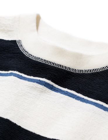 Norse Projects Johannes Textured Stripe T-Shirt - Dark Navy