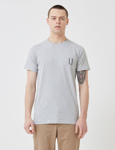 Norse Projects Niels Multi Logo T-Shirt - Light Grey Melange