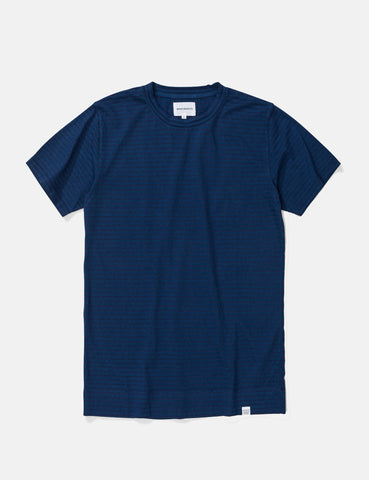 Norse Projects Niels Indigo Stripe T-Shirt - Indigo