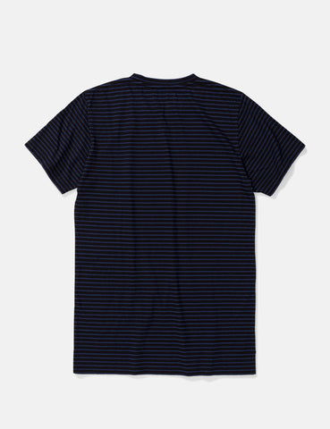 Norse Projects Niels Indigo Stripe T-Shirt - Black