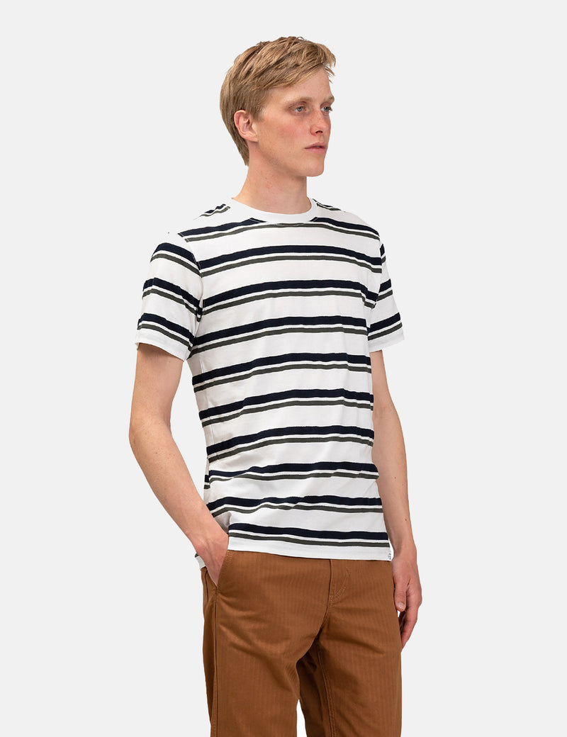 Norse Projects Niels Pique Stripe T-Shirt - Ivy Green/Dark Navy Blue