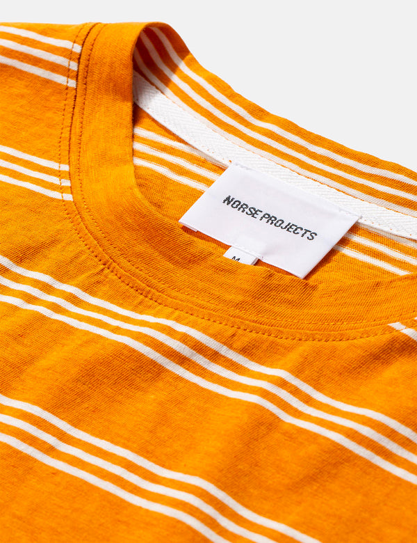 Norse Projects Johannes Cotton Linen Stripe T-Shirt - Cadmium Orange