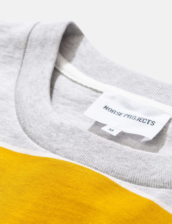 Norse Projects Johannes 3 Stripe T-Shirt - Montpellier Yellow