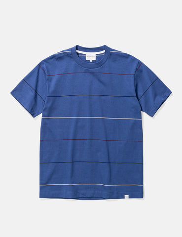 Norse Projects Johannes Thin Stripe T-Shirt - Twilight Blue