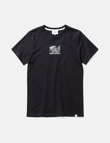 Norse Projects Niels Small Topo Logo T-Shirt - Black