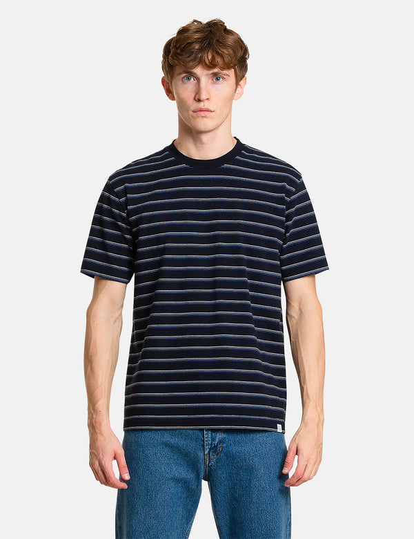 Norse Projects Johannes Stripe T-Shirt - Dark Navy Blue