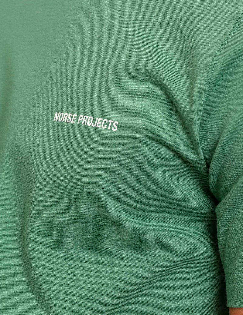 Norse Projects Niels Core Logo T-Shirt - Lichen Green
