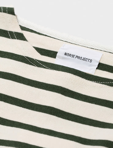 Norse Projects Godtfred Long Sleeve T-Shirt - Ecru/Forest Green