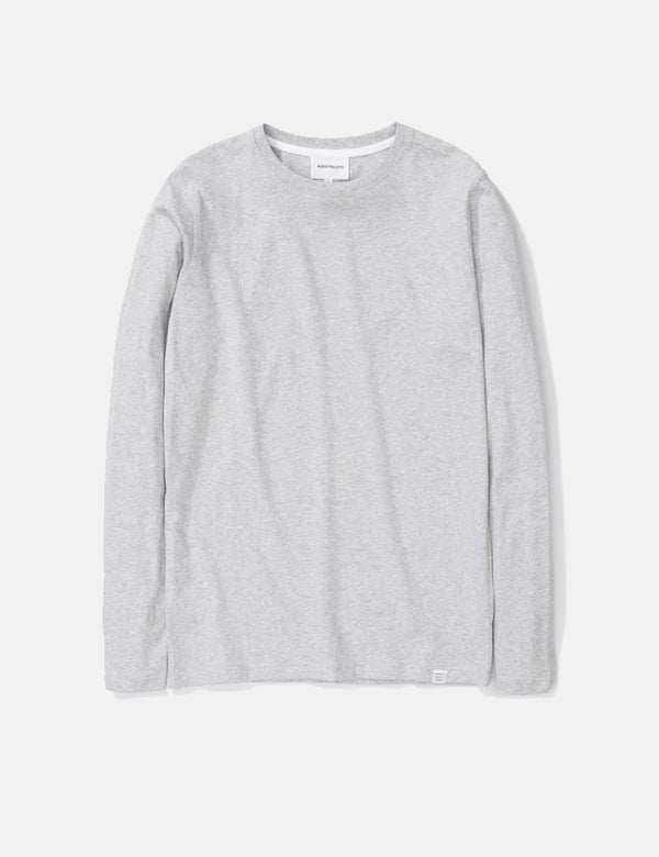 Norse Projects Niels Standard Long Sleeve T-Shirt - Light Grey Melange