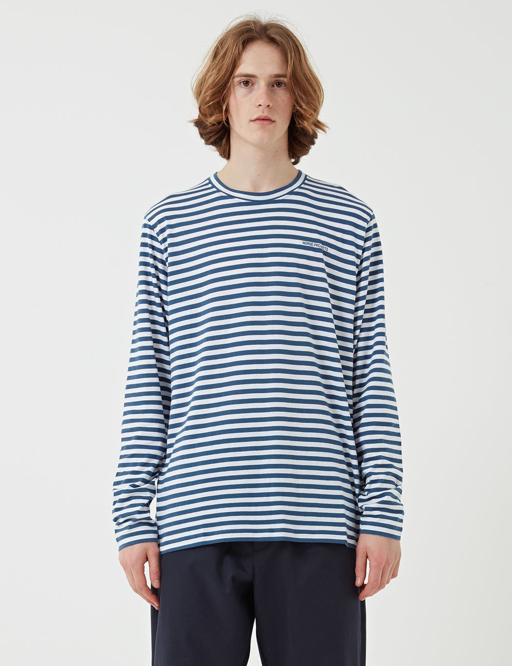 Norse Projects James Logo Stripe Long Sleeve T-Shirt - Annodized Blue