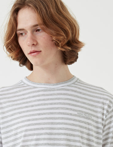 Norse Projects James Logo Stripe Long Sleeve T-Shirt - Light Grey Melange