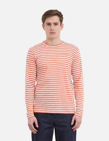 Norse Projects James Logo Stripe Long Sleeve T-Shirt - Burned red