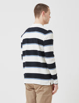 Norse Projects Johannes Textured Stripe Long Sleeve T-Shirt - Dark Navy Blue