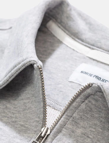 Norse Projects Jorn Half Zip Sweatshirt - Light Grey Melange