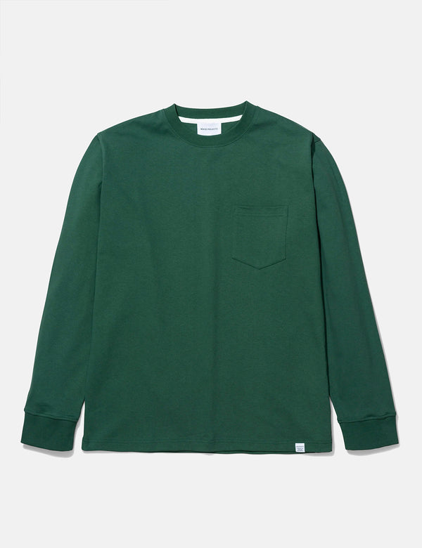 Norse Projects Johannes Pocket Long Sleeve T-Shirt - Dartmouth Green
