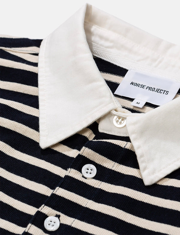Norse Projects Ruben Compact Cotton Polo (Stripe) - Navy Blue