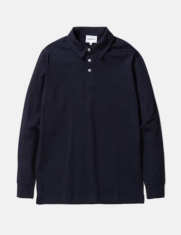 Norse Projects Ruben Long Sleeve Polo T-Shirt - Dark Navy Blue