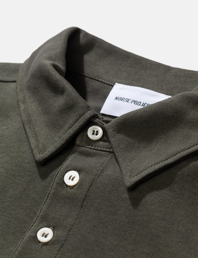 Norse Projects Ruben Long Sleeve Polo Shirt (Cotton) - Ivy Green