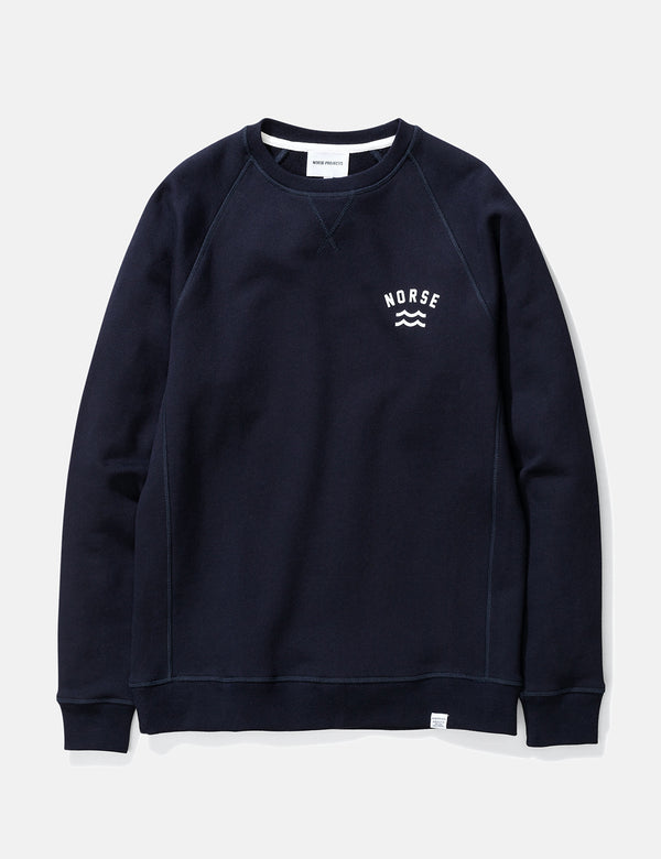Norse Projects Ketel Ivy Wave Logo Sweatshirt - Dark Navy Blue
