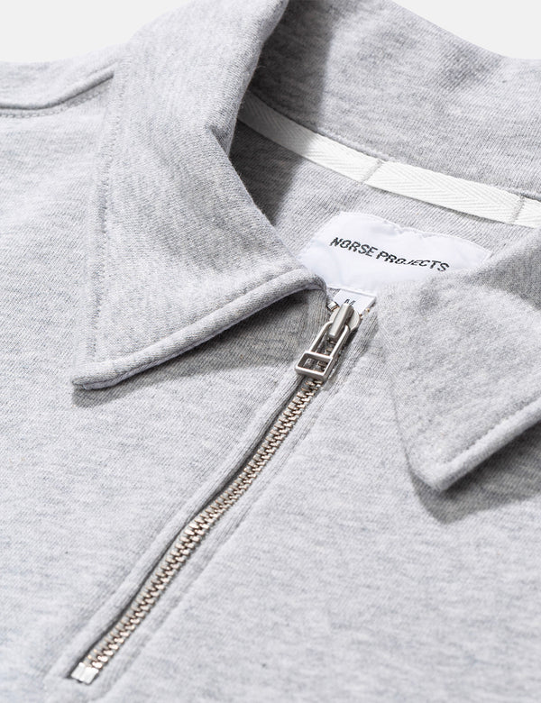 Norse Projects Jorn Half Zip Sweatshirt (330gsm Cotton) - Light Grey Melange
