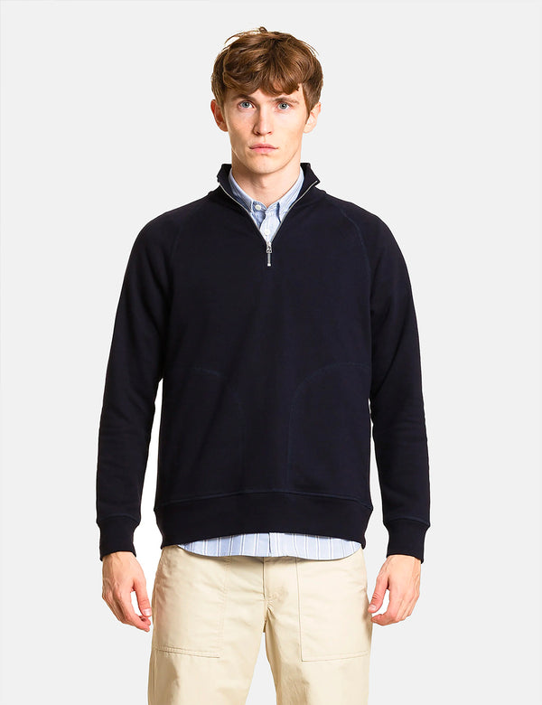 Norse Projects Alfred Light Sweatshirt (1/4 Zip) - Dark Navy Blue