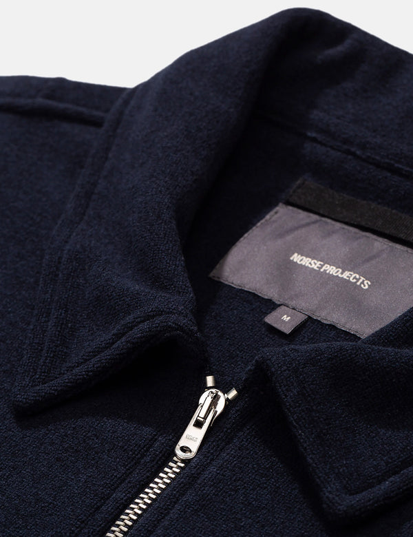 Norse Projects Jorn Fleece (Half Zip) - Dark Navy Blue