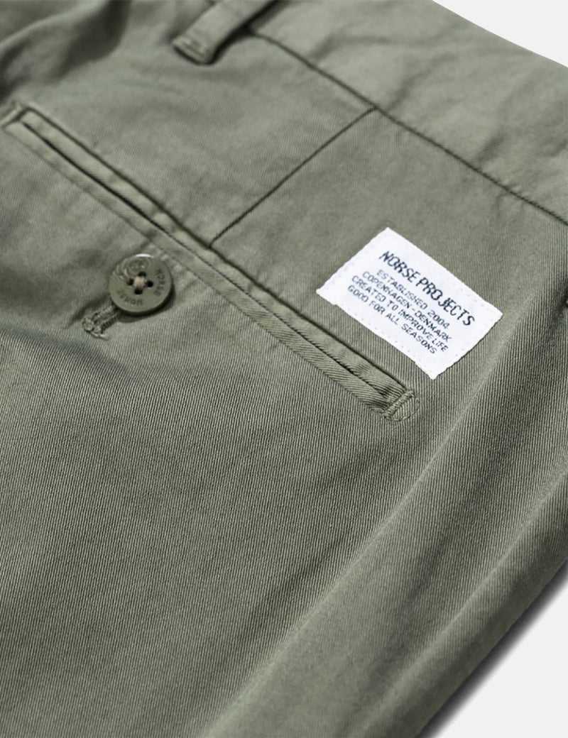 Norse Projects Aros Light Twill Chino (Slim) - Dried Olive Green