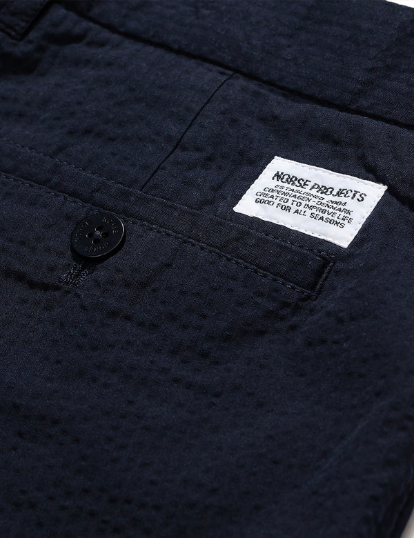 Norse Projects Aros Seersucker Shorts - Dark Navy Blue