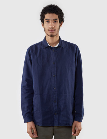 Norse Projects Jens Cotton Linen Broken Shirt - Navy Blue