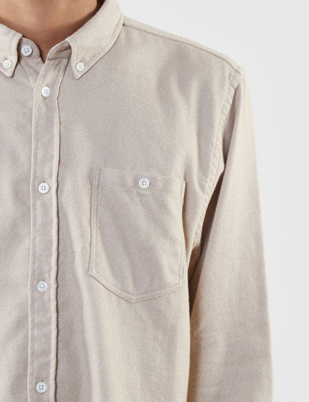Norse Projects Osvald Brushed Flannel Shirt - Khaki