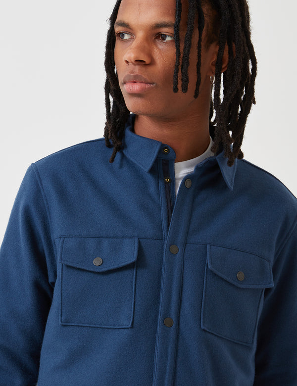 Norse Projects Villads Melton Overshirt - Navy