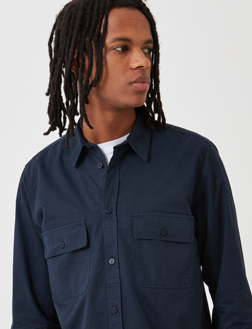 Norse Projects Villads Light Twill Overshirt - Dark Navy Blue