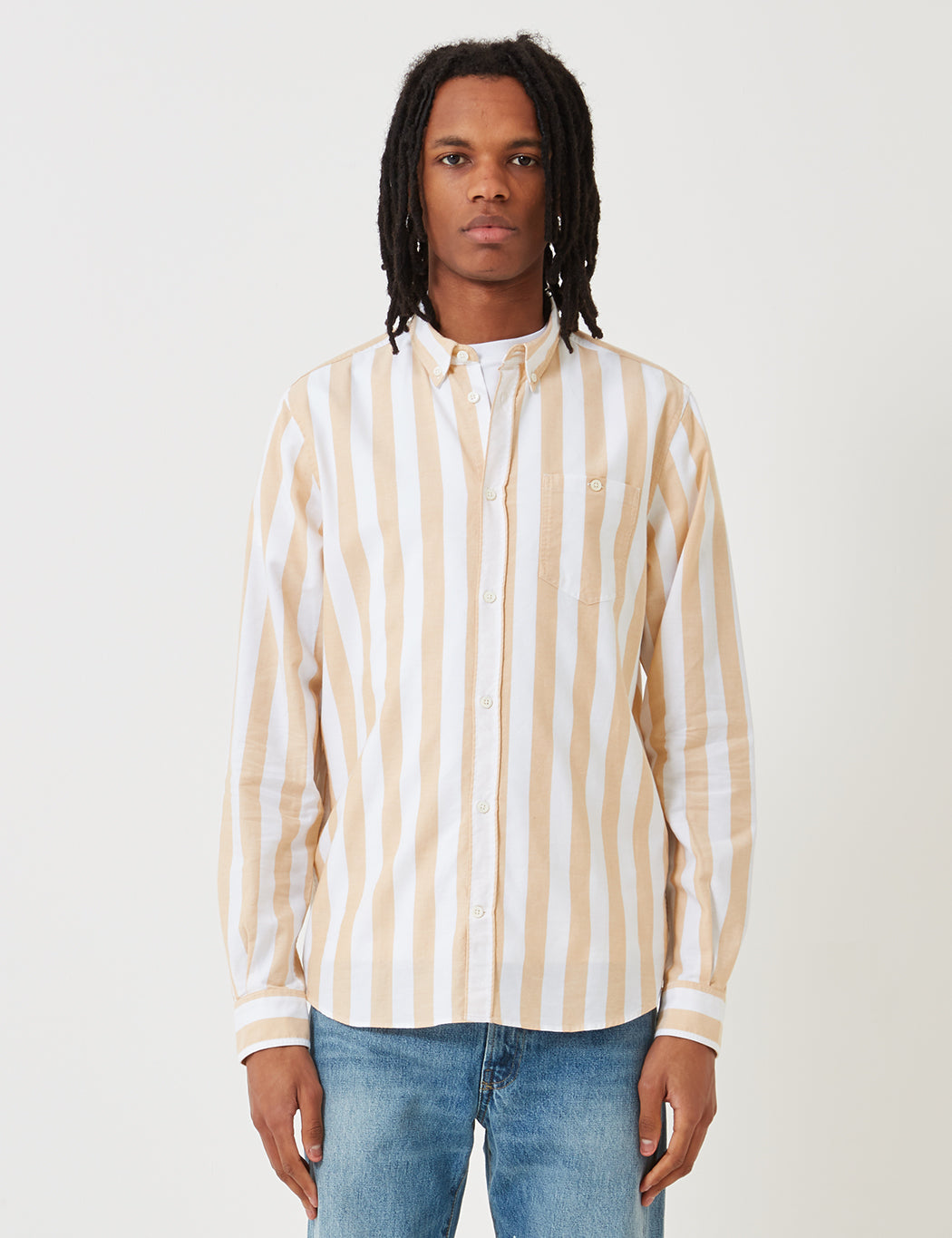 Norse Projects Anton Wide Stripe Oxford Shirt - Yellow   URBAN EXCESS.