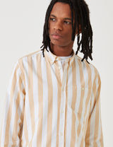 Norse Projects Anton Wide Stripe Oxford Shirt - Sunwashed Yellow