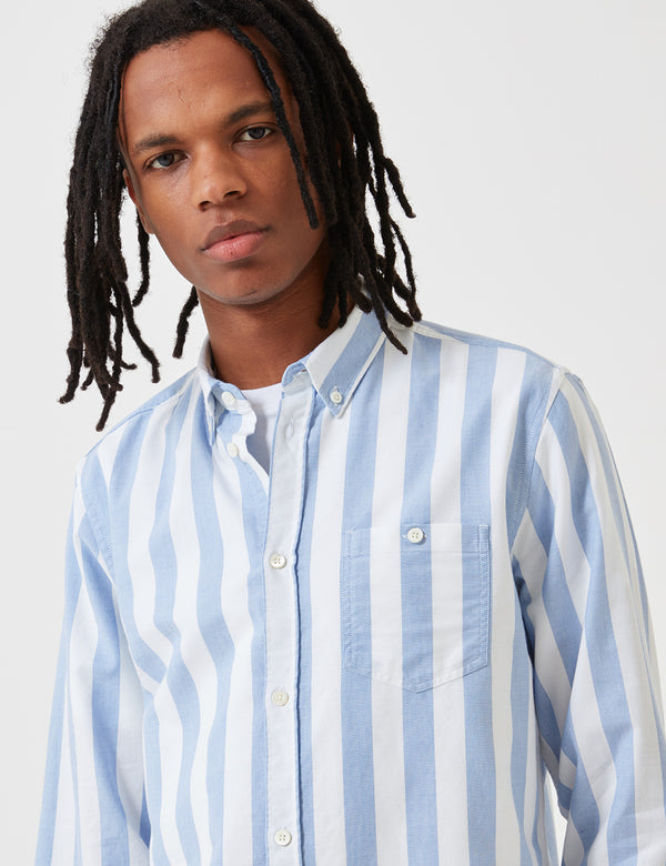 Norse Projects Anton Wide Stripe Oxford Shirt - Pale Blue
